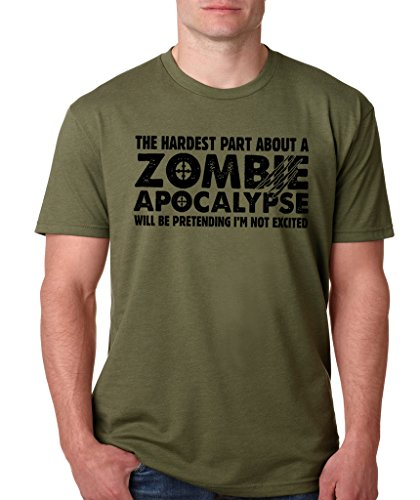Halloween Candy Funny (SignatureTshirts Men's The Hardest Part About A Zombie Apocalypse T-Shirt (Black Print) M Military)