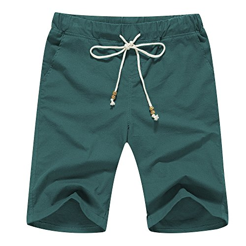 Janmid Men's Linen Casual Classic Fit Short (S, Blackish Green)