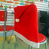 Euone 1pcs Santa Red Hat Chair Covers Christmas Decorations Dinner Chair Xmas Cap Sets