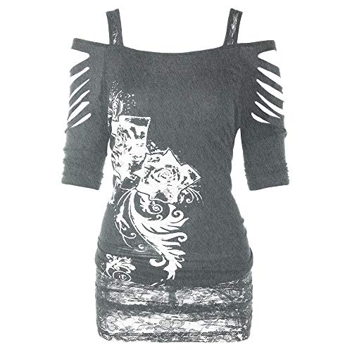 (Chaofanjiancai Women Tops,Womens Fashion Shoulder Cut Rivet Lacerated Sleeve T-Shirt Hollow Out Casual Tops Gray)