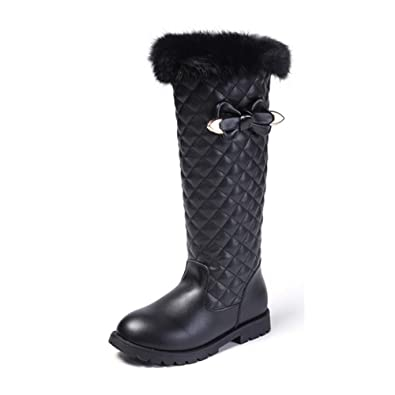 18d01715bcfe BININBOX Girls Knee High Boots Genuine Leather Snow Boots Girls Winter Boots  Kids (2 M