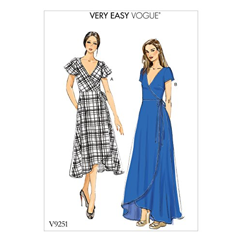 Vogue Patterns V9251F50 Misses' Wrap Dresses with Ties, Sleeve and Length Variations 16-18-20-22-24 Red ()