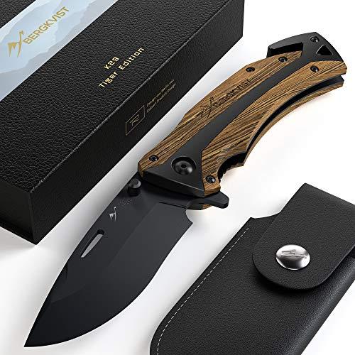 BERGKVIST® Klappmesser 3-in-1 K29 Tiger Messer I Scharfes Outdoor-Messer & Taschenmesser mit Holzgriff I Einhandmesser…