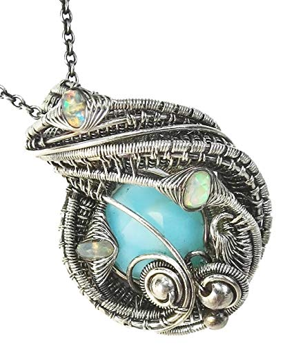 Peruvian Blue Opal Wire-Wrapped Necklace in Antiqued Sterling Silver with Ethiopian Welo Opals