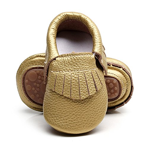 Pictures of HONGTEYA Leather Baby Moccasins Hard Soled Tassel 4