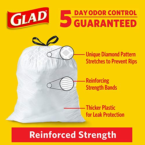 Glad OdorShield Protection Series Tall Kitchen Drawstring Trash Bags - Febreze Fresh Clean - 13 Gallon - 110 count