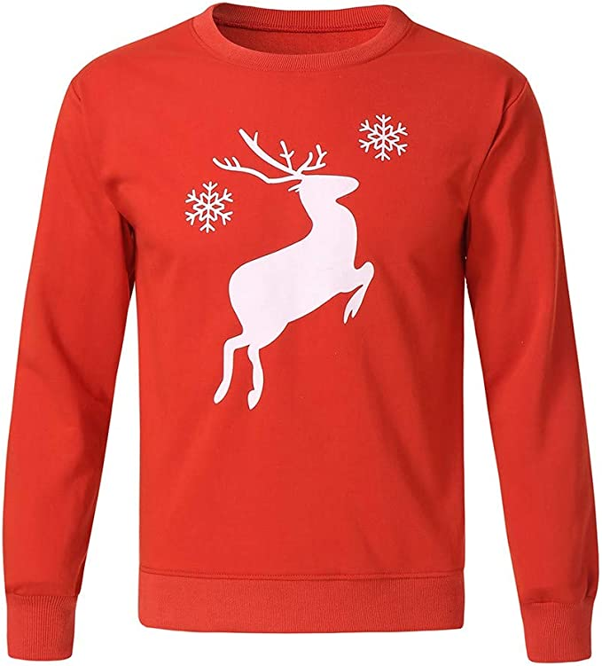 Christmas Reindeer with Red Ribbon Baby Boy Newborn Short Sleeve T-Shirt 6-24 Month Cotton Tops