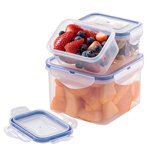 Set of 3 Bento Box Container, Leak Proof Insulated Food Storage Containers, Stackable Lunchbox, Easy to Open/Close Lid, Folds in half, BPA Free Plastic Container, For Soups, Sandwich, Cookies, pasta,