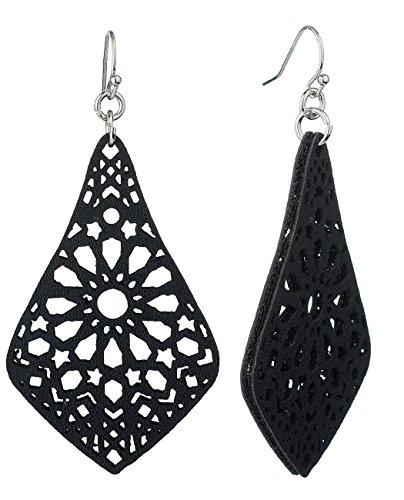 Women's Elegant Filigree Smooth Faux Leather Dangle Pierced Earrings, Black Dangling Faux Earrings