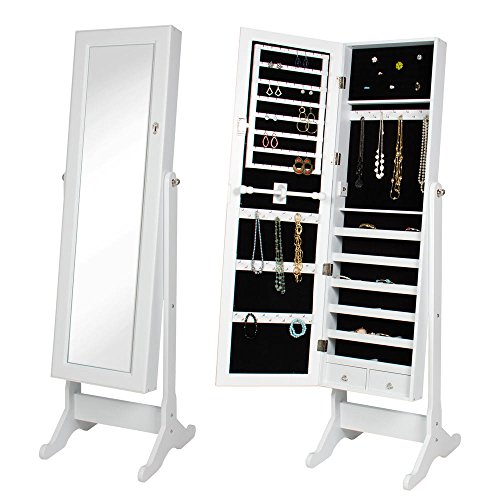 BTEXPERT Premium Wooden Jewelry Armoire Cabinet Floor Stand Organizer Storage Box Case Cheval Mirror Safety Lock, White -