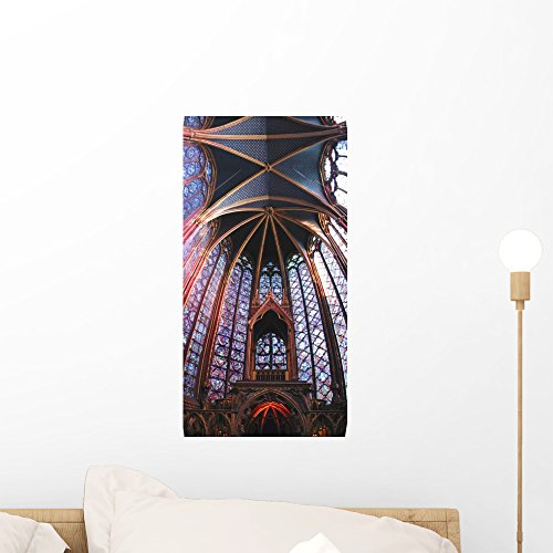 Stained Glass Panorama - Wallmonkeys FOT-3134173-18 WM74362 Stained Glass Windows Peel and Stick Wall Decals (18 in H x 9 in W), Small