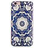 Let it be Free Colorful Square Rhombus Clear Edge TPU Soft Case Rubber Silicone Skin Cover for iphone 6 4.7 Inch (Not for iphone6 Plus) (Blue Flower)