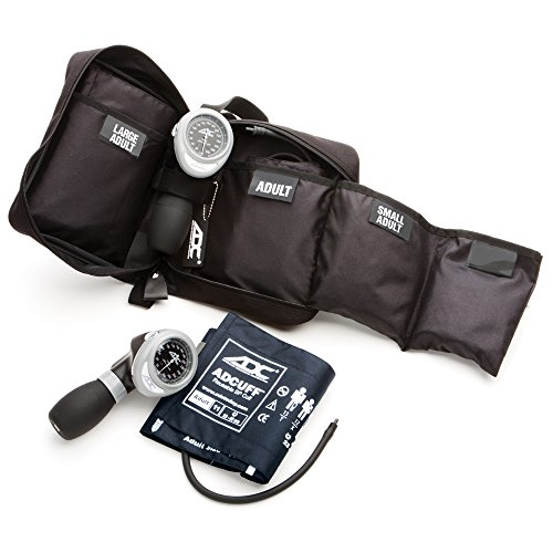 ADC Multikuf 731 3-Cuff EMT Kit with 804 Portable Palm Aneroid Sphygmomanometer, Small Adult, Adult and Large Adult Blood Pressure Cuffs (19-50 cm), Black Nylon Zipper Storage Case, Multi-Color