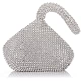 AIJUN Triangle Full Rhinestones Women's Evening Clutch Bag Party Prom Wedding Purse (Sliver)