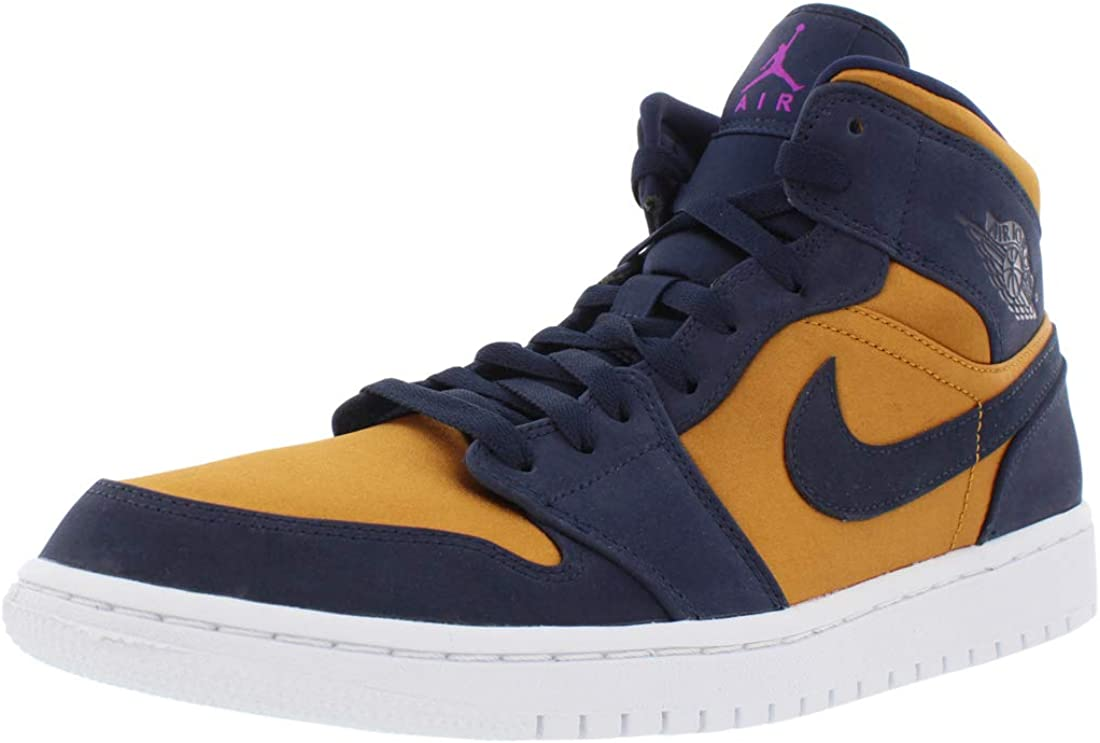Amazon Com Nike Air Jordan 1 Mid Obsidian Desert Ochre 852542