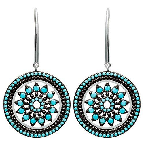So Chic Bijoux © Boucles d'oreilles Pendantes Femme Tige & Cercle Fleur Rosace Ajourée Pierres Noir & Bleu Turquoise Argent 925
