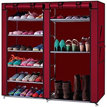 organizer canvas item armadio sapateira rack stand permanent tier shoe tessuto scarpe organizzatore zipper stool fila storage shelves rail in stoccaggio di wardrobe tela