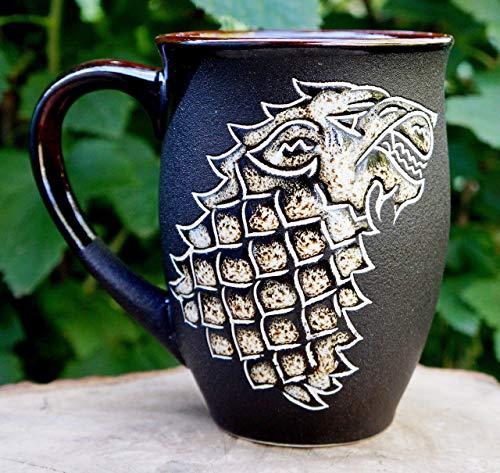 (Game of thrones mug, Large ceramic coffee men's mug,16 oz, Husband gift, Wolf gifts, Handmade hand-painted pottery mug, Gift for him)