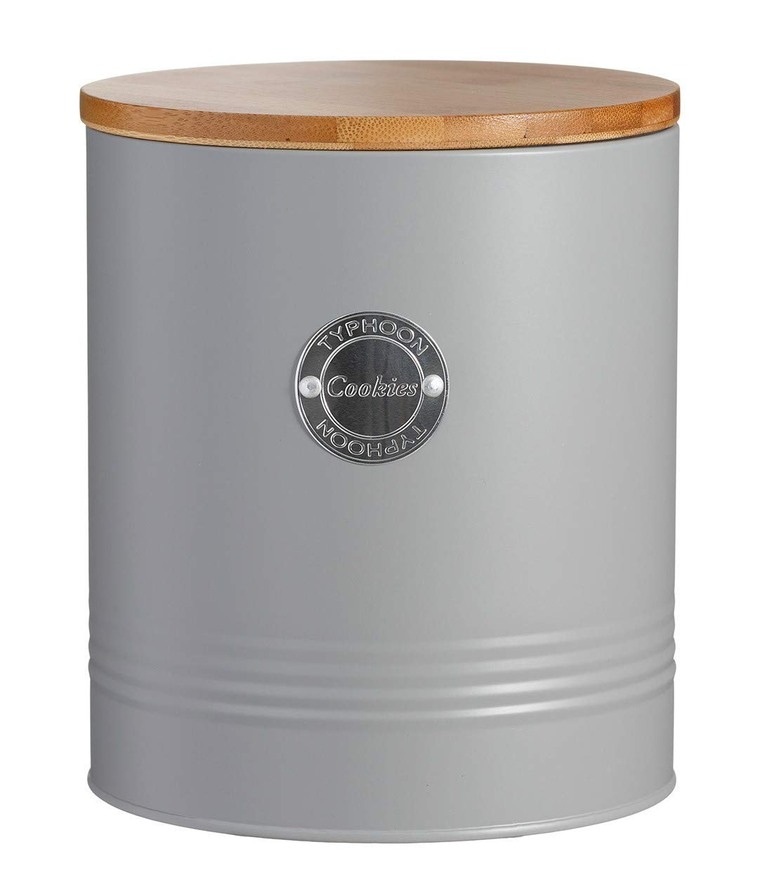 Typhoon Living Airtight Seal Cookie//Biscuit Tins Storage Canister Jar with Bamboo Lid Grey
