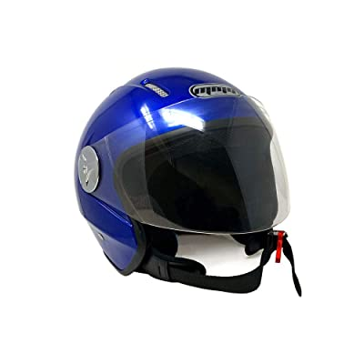 MMG Motorcycle Scooter Open Face Helmet Pilot Flip Up Visor DOT, Blue, Large: Sports & Outdoors