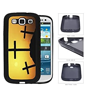 Three Crosses Silhouette And Sunset Rubber Silicone TPU Cell Phone Case Samsung Galaxy S3 SIII I9300Kimberly Kurzendoerfer