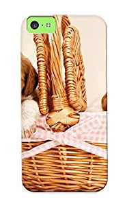 Crazinesswith Case Cover For Iphone 5c - Retailer Packaging Couple Of Puppies In A Basket Protective Case