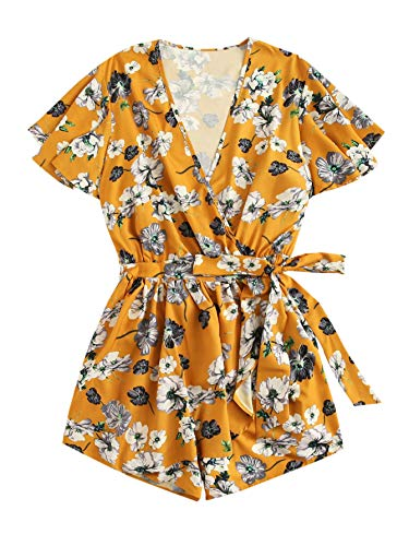 (Romwe Women's Plus Size Floral Print Loose V Neck Romper Belted Short Jumpsuit Yellow 1XL)