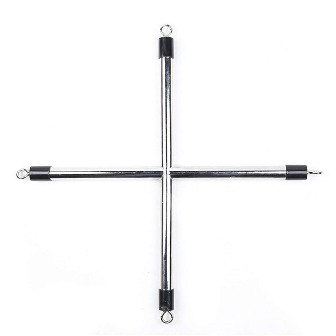 Limeinimukete Accesorios de encuadernación de Entrenamiento Juguetes, de Tubo de Acero con Forma de Juguetes, pie en Forma de Cruz en Forma de pie en Forma de T (Size : Cross) 165554