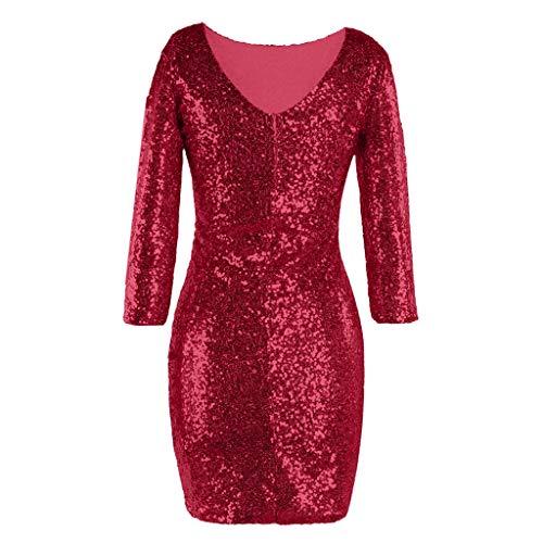 Mini De Dress Mujer Cóctel Zodof Cuello Larga Lentejuelas V Bodycon Vestido Con Mujeres Rojo Manga Las 076p6gqw