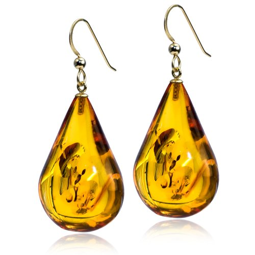 14k Gold High Quality Amber Drop Large Hook Earrings