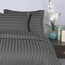 Elegant Comfort 1500 Thread Count-Damask Stripes-Egyptian Quality Luxurious Silky Soft Wrinkle and Fade Resistant 3Piece Duvet Cover Set, King/Cal-King, Gray