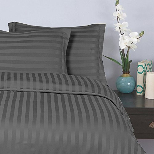 Elegant Comfort 1500 Thread Count -DAMASK STRIPES- Egyptian Quality Luxurious Silky Soft WRINKLE & FADE RESISTANT 3pc Duvet Cover Set, King/Cal-King, Gray