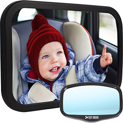 Baby Car Mirror for Back Seat | View Rear Facing Infant in Backseat | CRASH TESTED Best Newborn Safety Secure Double-Strap | FREE Cleaning Cloth & eBook | Lifetime Warranty | Baby Shower Gift Box from COZY GREENS
