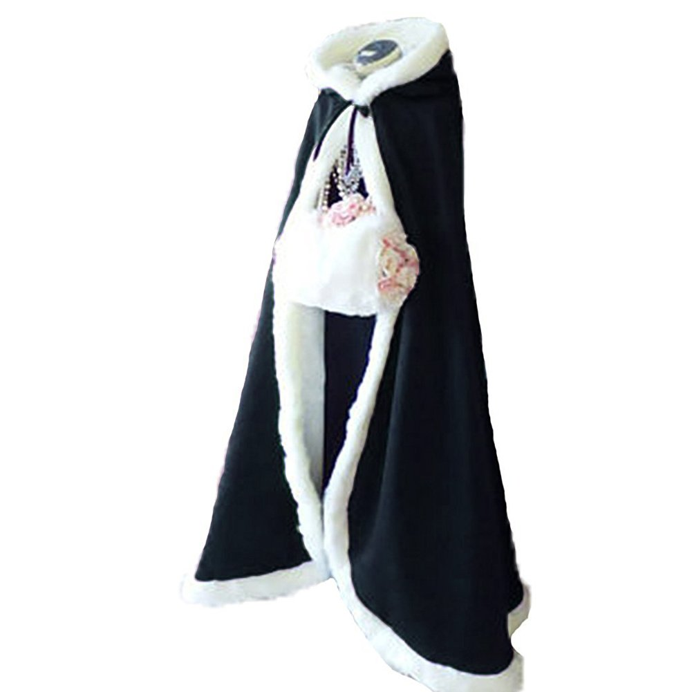 Dark Navy Lemai Long Wedding Cloak with Hooded Cape Winter Fur Trim and Hand Muff 50 55 59 71 Inches (20 colors)