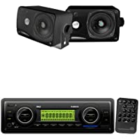 Pyle Marine Radio Receiver and Speaker Package - PLMR87WB AM/FM-MPX IN-Dash Marine MP3 Player/Weatherband/USB & SD / MMC Card Function (Black) - PLMR24B 3.5 200 Watt 3-Way Weather / Water Proof Mini Box Speaker System