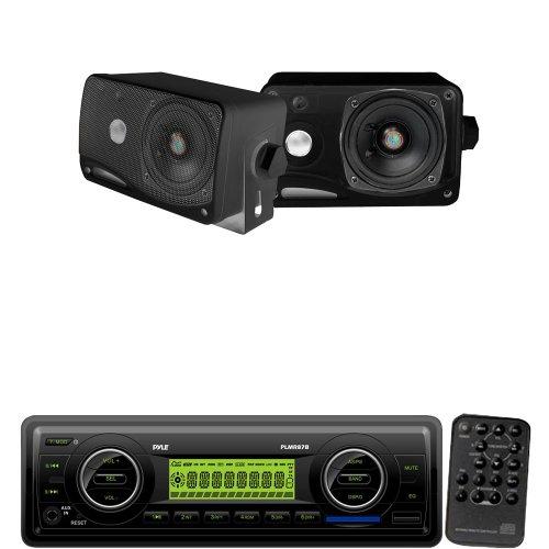 (Pyle Marine Radio Receiver and Speaker Package - PLMR87WB AM/FM-MPX IN-Dash Marine MP3 Player/Weatherband/USB & SD / MMC Card Function (Black) - PLMR24B 3.5'' 200 Watt 3-Way Weather / Water Proof Mini Box Speaker System)