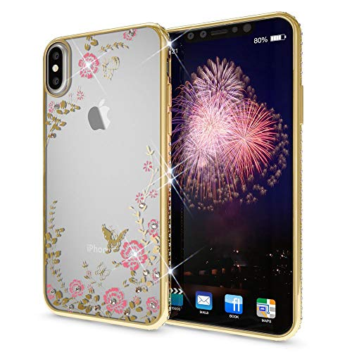 NALIA Rhinestone Case Compatible with iPhone Xs Max, Ultra-Thin Silicone Back-Cover Crystal Flower Pattern Design, Protective Slim Skin Shockproof Gel Bling Protector Smart-Phone Bumper, Color:Gold