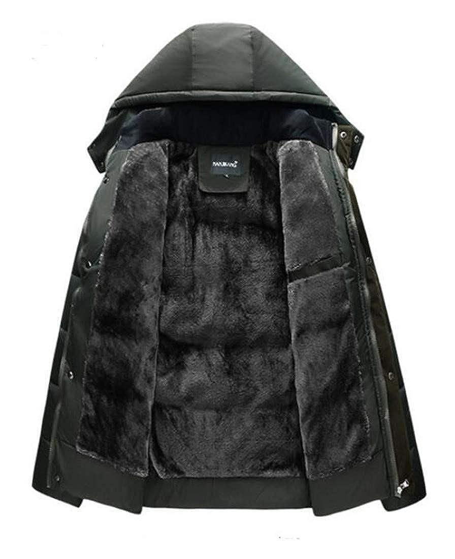 C/&H Men Classic Quilted Outwear Down Jacket Hoodie Fleece Parkas Coat