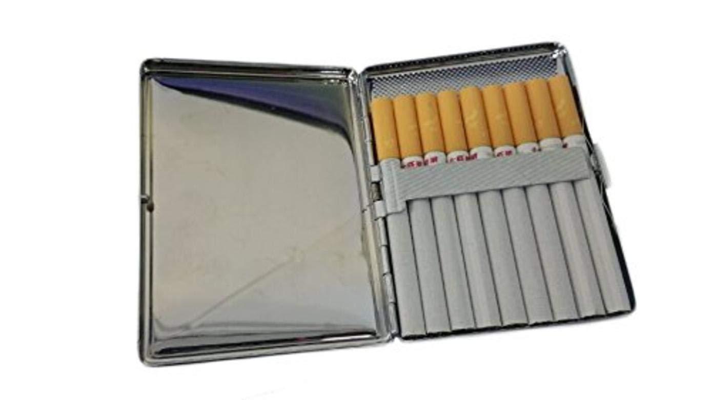 modisch f/ür gro/ße Zigaretten Cartoon-Zigarettenetui mit blauem Fisch-Motiv personalisierbar aus Edelstahl