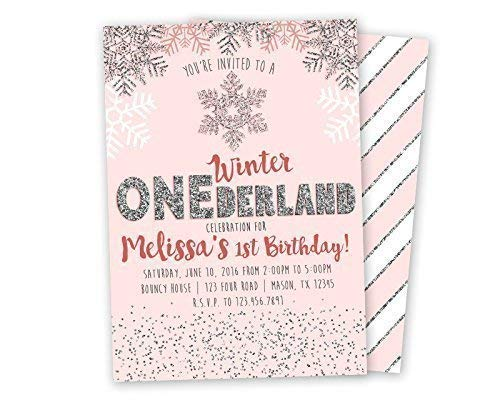 Pink Silver Winter ONEderland Invitations Glitter 1st First Birthday Girl -
