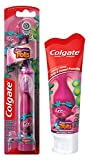 Colgate Trolls Poppy Toothbrush & Toothpaste Bundle: 2 Items - Powered Toothbrush, Bubble Fruit Toothpaste