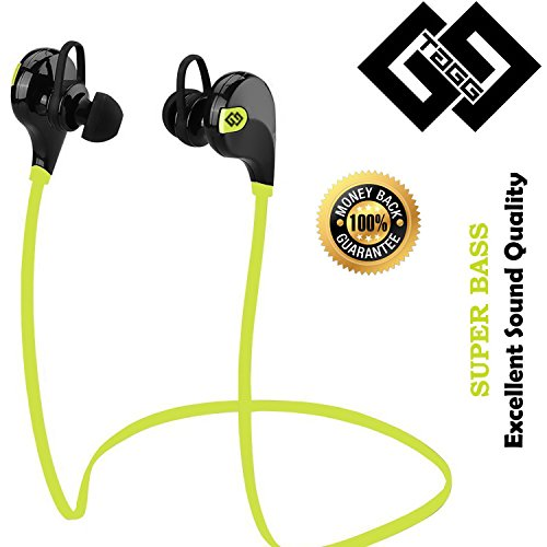 Bluetooth Headset - TAGG® Wireless Sports Headphones with Mic || Sweatproof Earbuds, Best for Running,Gym || Noise Cancellation || Stereo Sound Quality || Compatible with Iphones, IPads, Samsung and other Android Devices
