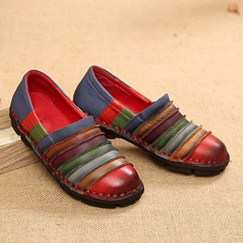 Casual Plate Chaussures Femmes De Conduite Cuir Rouge 41 Wealsex Talon Mocassins Confort 42 Loafers En qC00xX