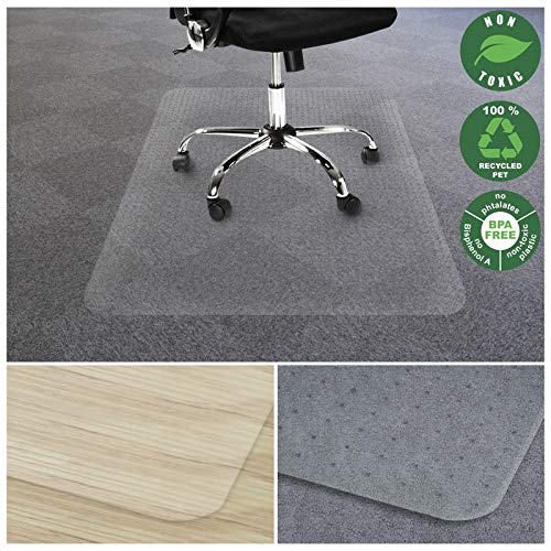 Office Marshal Chair Mat for Carpet | Eco-Friendly Series Chair Floor Protector | 100% Recycled (PET) Floor Mat for Office or Home Use | Multiple Sizes | Translucent - 30'' ()