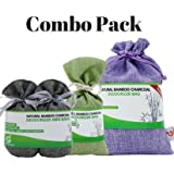 Combo Pack. Bamboo Charcoal Deodorizer Power Pack Bundle with Mini Bags & Regular Bag, Best Air Purifiers for Smokers & Allergies, Perfect Car Air Fresheners, Remove Smells for Home & Bathroom (3,GGP)