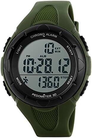 TOPCABIN Children Waterproof Sports Watch Step Gauge Watch Electronic Outdoor Watch For Boys Digital Watch For Girls Army Green