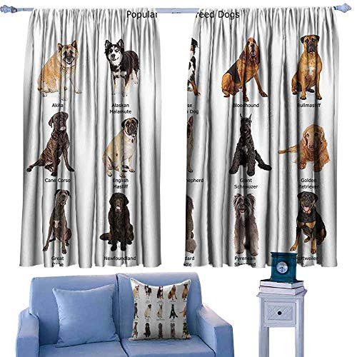 DONEECKL Room Darkening Wide Curtains Dog Lover Decor Collection Group of Large Breed Dogs Together Bullmastiff Alaskan Akita Bernese Tie Up Window Drapes Living Room W84 xL72 Beige Brown Black