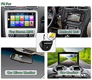 GreenYi Universal Car Backup Camera with Dynamic Trajectory Guide Line, HD 960x720 Rear View Camera Waterproof Night Vision 155 Degree Wide View (Color: Black, Tamaño: Small)