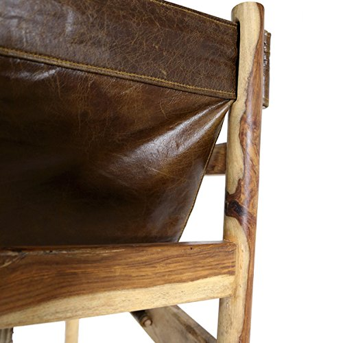 Wanderloot Genoa Solid Sheesham and Leather Sling Chair (India) | This Item is Beautiful Exotic Hardwood by Porter International Designs. (Image #6)