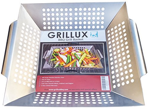#1 BEST Vegetable Grill Basket - BBQ Accessories for Grilling Veggies, Fish, Meat, Kabob, or Pizza - Use as Wok, Pan, or Smoker - Quality Stainless Steel - Camping Cookware - Charcoal or Gas Grills OK ()